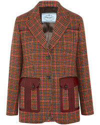 Prada Leather Trimmed Checked Wool Blend Tweed Blazer Orange
