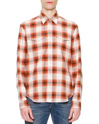 Maison Margiela Check Long Sleeve Western Shirt Orange