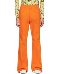 Raf Simons Orange Twill Flared Trousers