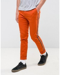 Asos Skinny Chino With Contrast Side Stripe In Orange