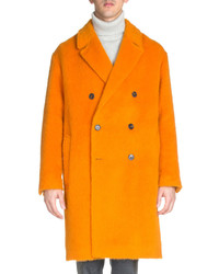 Ami Apparel Long Sleeve Wool Alpaca Coat Orange