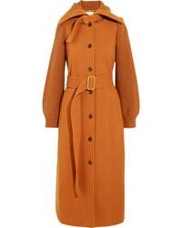 Chloé Belted Wool Felt Coat Orange