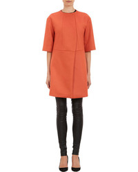 Narciso Rodriguez Collarless Short Sleeve Coat Orange