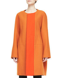 Narciso Rodriguez Two Tone Collarless Coat Orange