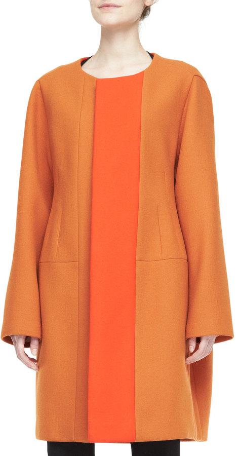 Narciso Rodriguez Two Tone Collarless Coat Orange