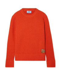 a9cf0ca8de230 Prada Appliqud Ribbed Wool And Cashmere Blend Sweater