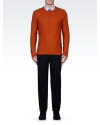 Emporio Armani Crew Neck Sweater With Woven Pattern
