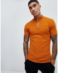 ASOS DESIGN Muscle Fit T Shirt With Zip Turtle Neck In Brown