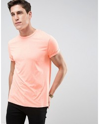 Asos T Shirt With Crew Neck And Roll Sleeve In Orange