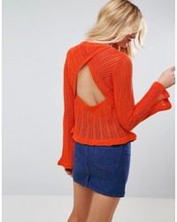 Asos Crochet Top With Frill Detail