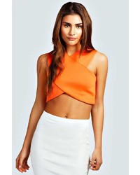 Boohoo Lily V Neck Racer Crop Top