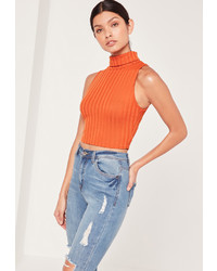 Missguided Chunky Ribbed Turtle Neck Crop Top Orange