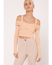 Missguided Ribbed Supported Bardot Crop Top Nude