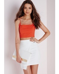 Missguided Strappy Front Crop Top Orange