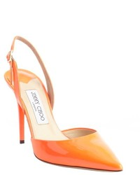 Orange Cutout Leather Pumps