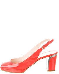 Prada Patent Leather Peep Toe Pumps