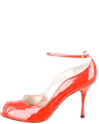 Dolce & Gabbana Patent Leather Peep Toe Pumps