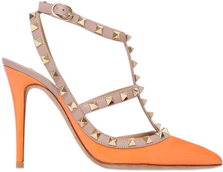 3b18cdc33dc7 Women s Fashion › Shoes › Pumps › LUISAVIAROMA › Valentino › Orange Cutout Leather  Pumps Valentino 100mm Rockstud Patent Leather Pumps ...