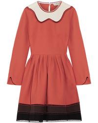 Fendi Cutout Color Block Wool And Silk Blend Mini Dress Orange
