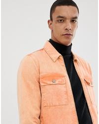 ASOS DESIGN Zip Through Denim Jacket In Fluro Orange