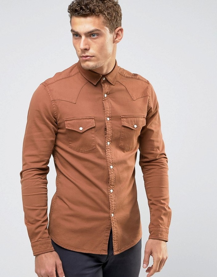 2a82d8b9062 Asos Skinny Western Denim Shirt In Orange, $40 | Asos | Lookastic.com