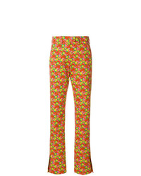 MSGM Slim Fit Floral Print Trousers