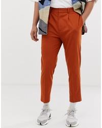 ASOS DESIGN Tapered Crop Smart Trousers In Rust