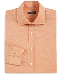 Saks Fifth Avenue Classic Fit Linen Cotton Dress Shirt