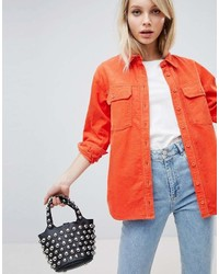 Asos Design Cord Shirt In Orange