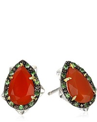 Elizabeth and James Thorns Sterling Silver Orange Carnelian Stud Earrings