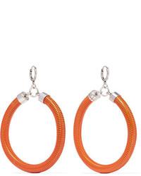 Isabel Marant Enameled Silver Tone Earrings Orange