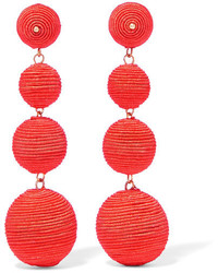 Kenneth Jay Lane Gold Plated Cord Earrings Orange