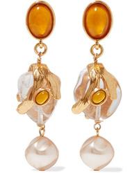 Oscar de la Renta Gold Tone Multi Stone Clip Earrings