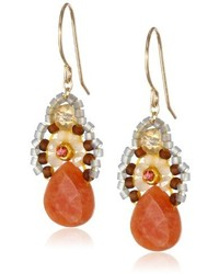 Miguel Ases Orange Jade And Created Quartz Drop Earrings 14