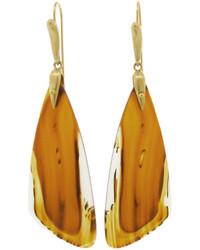 Annette Ferdinandsen Orange Montana Agate Moth Wing Earrings Yellow Gold