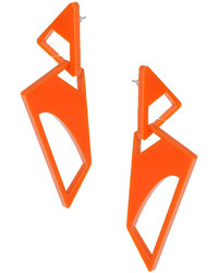 Topshop Orange Plastic Cut Out Drop Earrings Made Of Two Sections Looped Together Length 105cm Part Of The Central Saint Martins Collection For Freedom At 100% Plastic