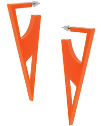 Topshop Orange Plastic Triangular Shaped Cut Out Earrings Length 9cm Part Of The Central Saint Martins Collection For Freedom At 100% Plastic