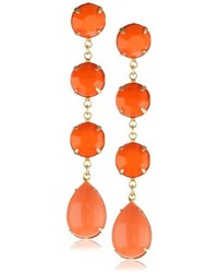 Yochi Orange And Gold Tone Earrings
