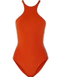 La Perla Radiance Sequin Embellished Swimsuit Bright Orange