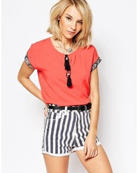 Daisy Street Top With Embroidered Detail And Tassel Tie