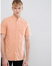 Fred Perry Classic Oxford Short Sleeve Shirt In Apricot