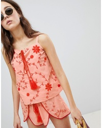 Glamorous Top With Tassel Tie Front In Contrast Embroidery Co Ord