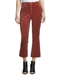 Frame High Waist Velvet O Ring Zip Flare Pants