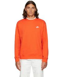 Nike Orange Fleece Sportswear Club Sweatshirt