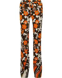 Prada Floral Print Crepe Straight Leg Pants