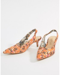 Gestuz Orange Printed Heeled Sandals Flower