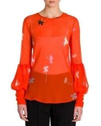 Orange Floral Long Sleeve Blouse