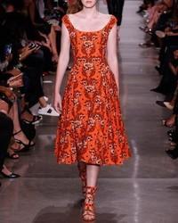 Floral jacquard sleeveless midi dress orange pattern medium 826712