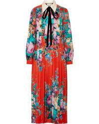 Gucci Med Pleated Printed Silk De Chine Midi Dress