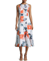 Sleeveless floral print midi dress orange medium 651704